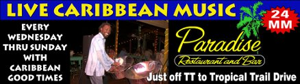 Live Caribbean Music Every Wednesday thru Sunday at Paradise Restaurant & Bar
