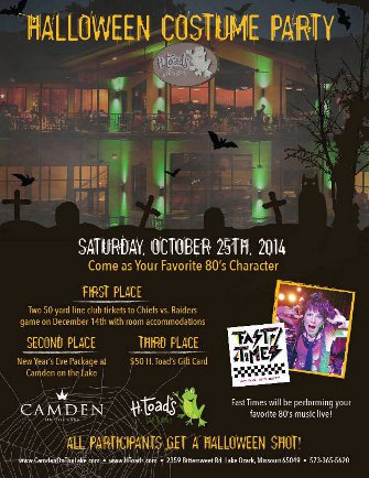 Halloween Party and Costume Contest 10/25 H. Toad's