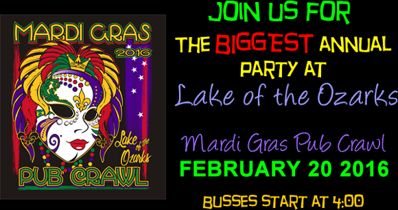 The Lake of the Ozarks Mardi Gras Pub Crawl 2016
