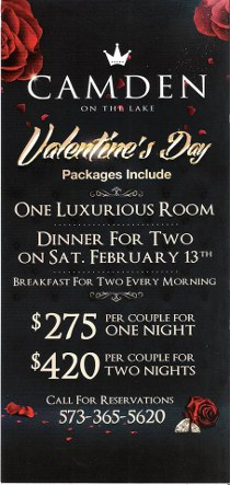 Valentines Day Packages at Camden on the Lake